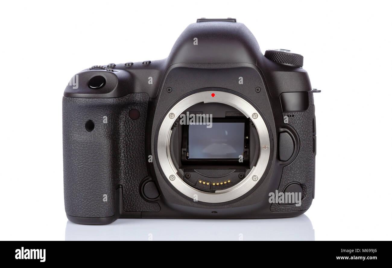 Dslr camera back side on white glass background - Stock Image
