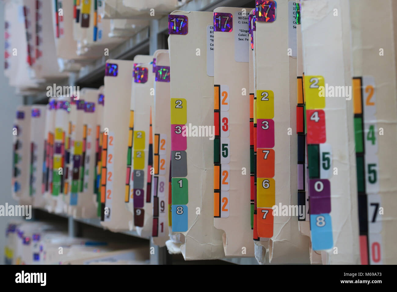 Medical records stored on a shelf - Stock Image