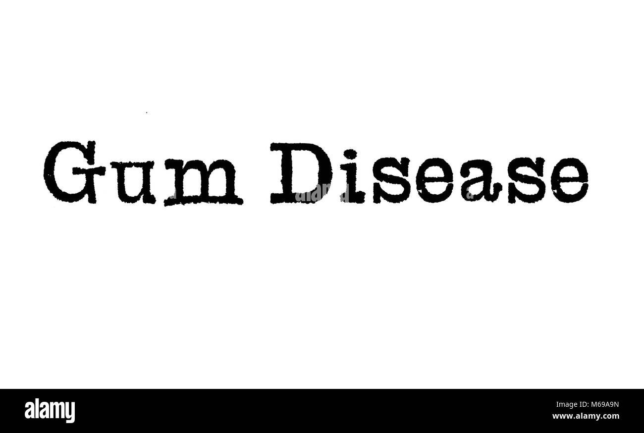 The words Gum Disease from a typewriter on a white background - Stock Image