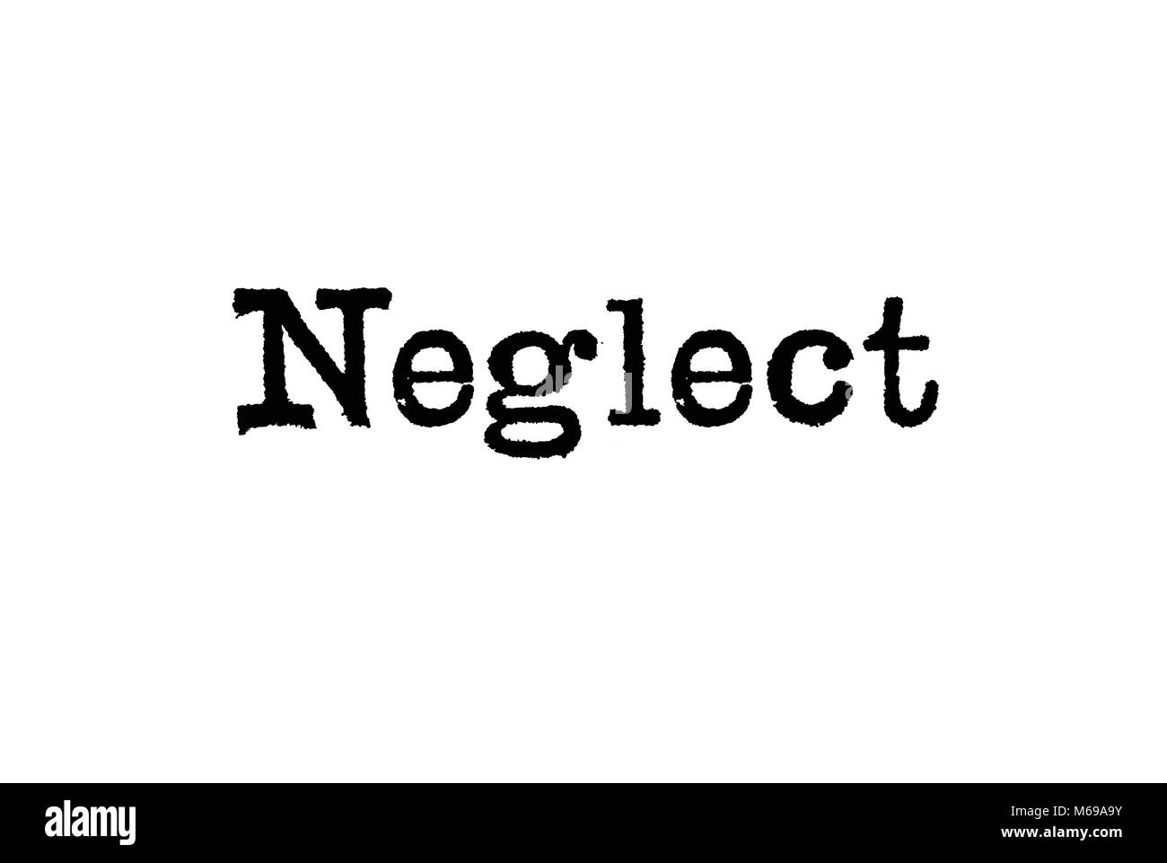 The word Neglect from a typewriter on a white background - Stock Image