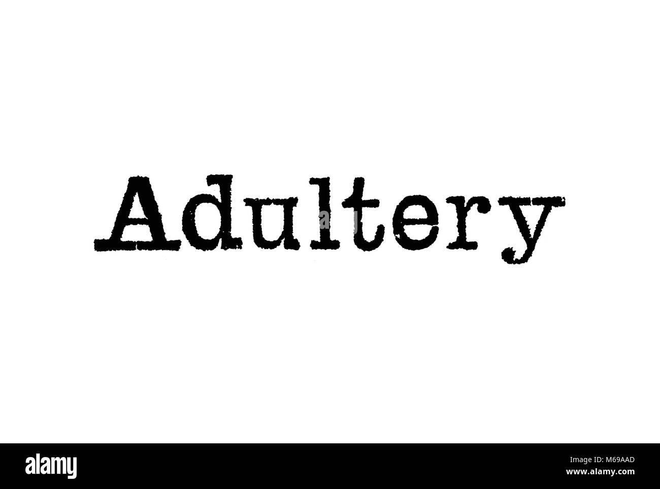 The word Adultery from a typewriter on a white background - Stock Image