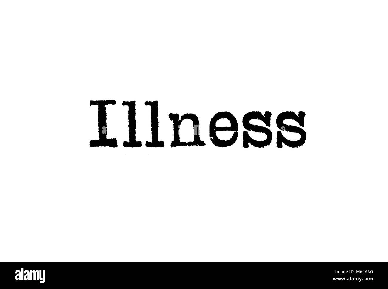 The word Illness from a typewriter on a white background - Stock Image
