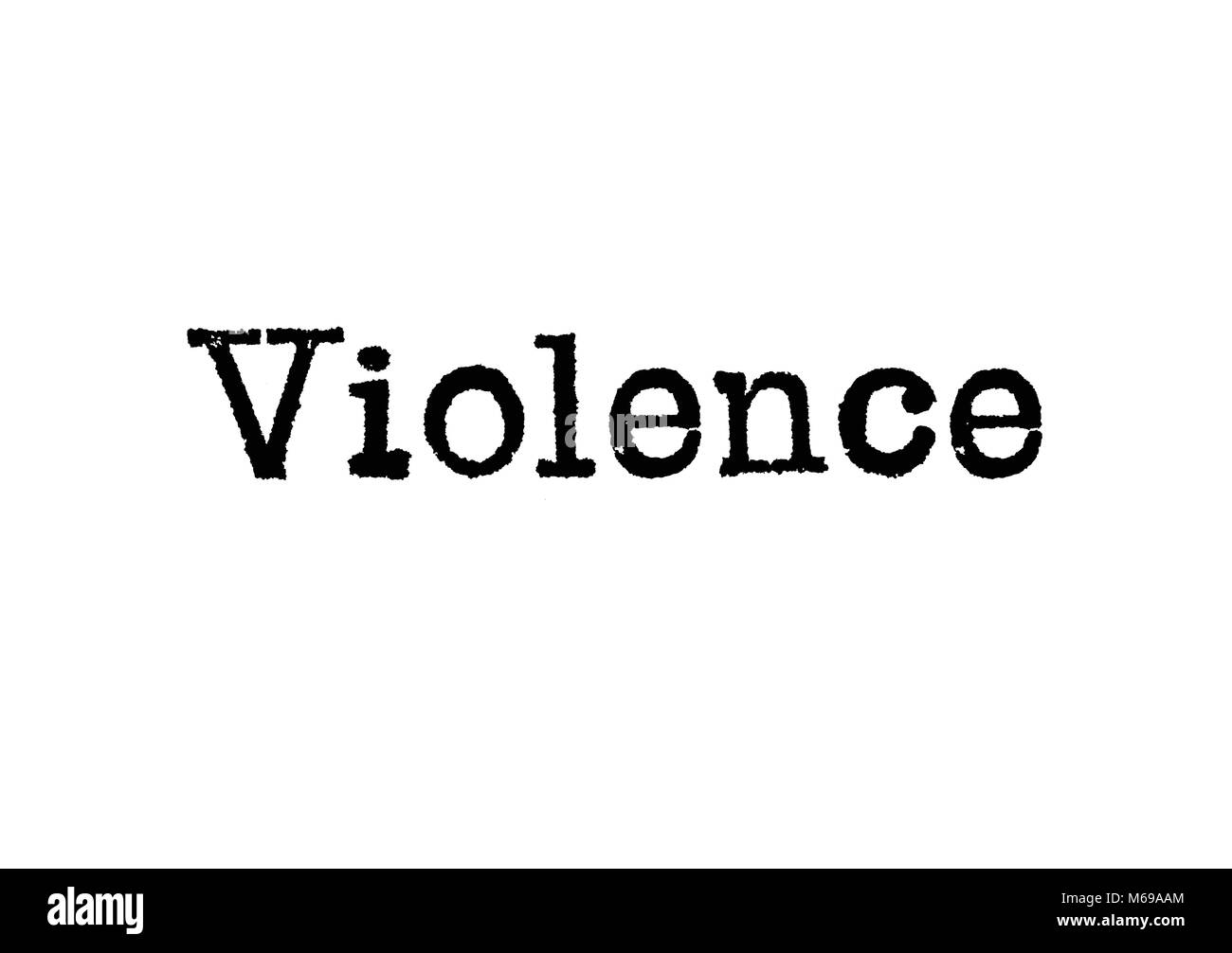 The word Violence from a typewriter on a white background - Stock Image