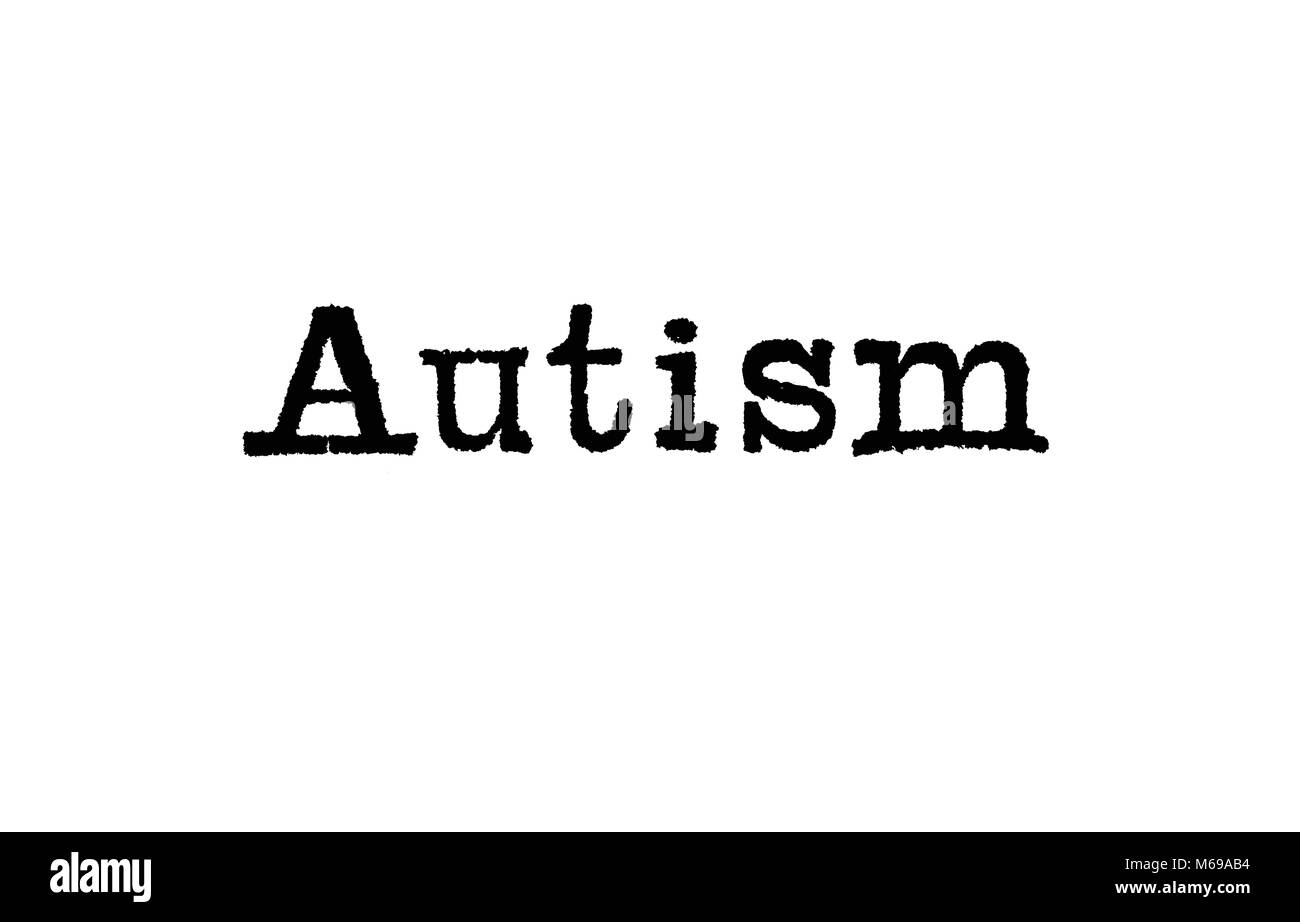 The word Autism from a typewriter on a white background - Stock Image