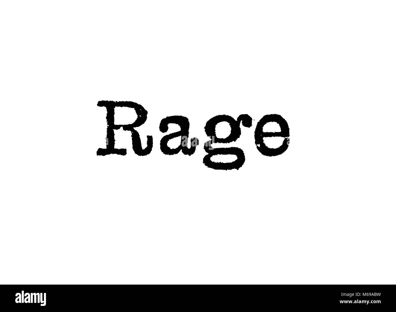 The word Rage from a typewriter on a white background - Stock Image