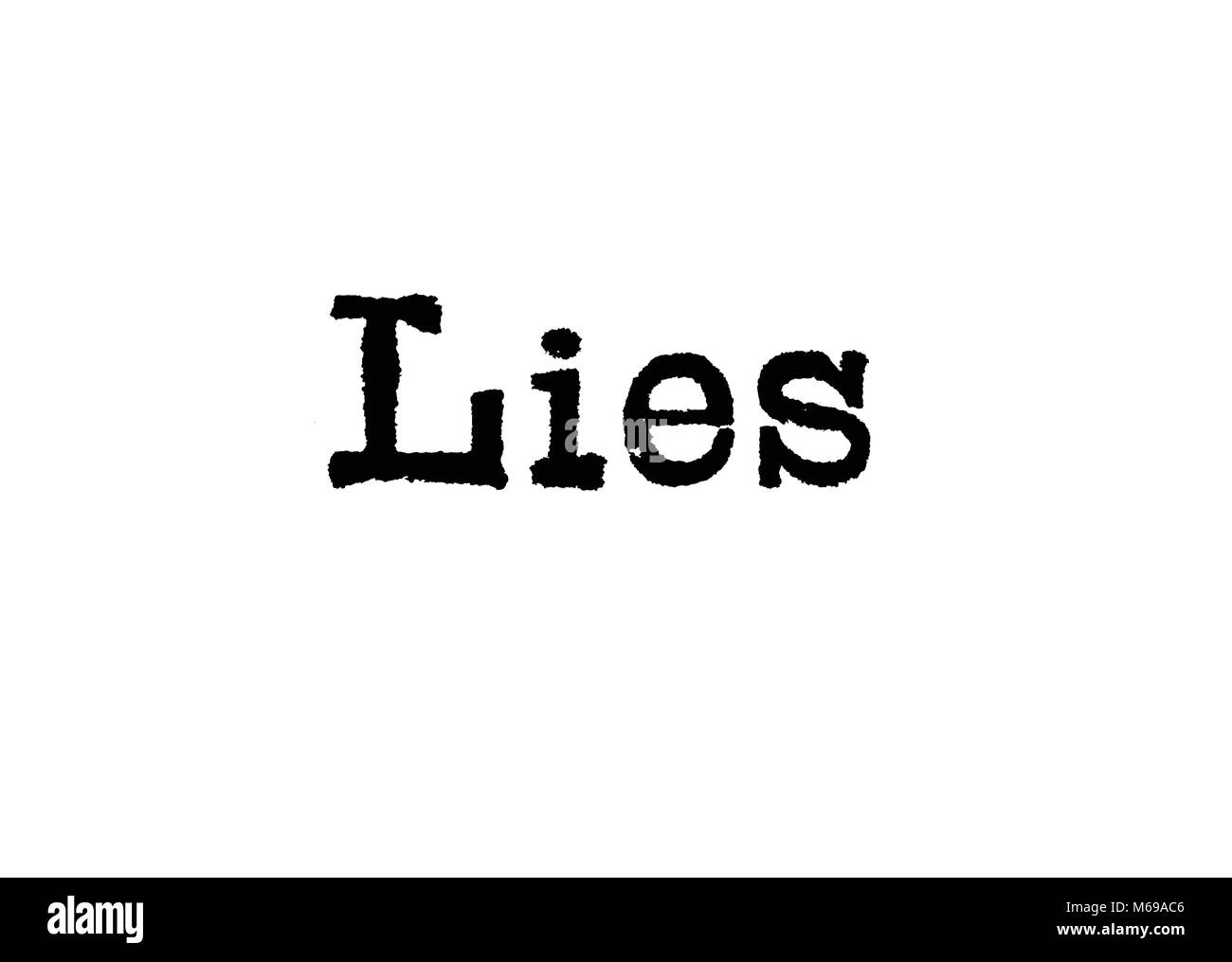 The word Lies from a typewriter on a white background - Stock Image