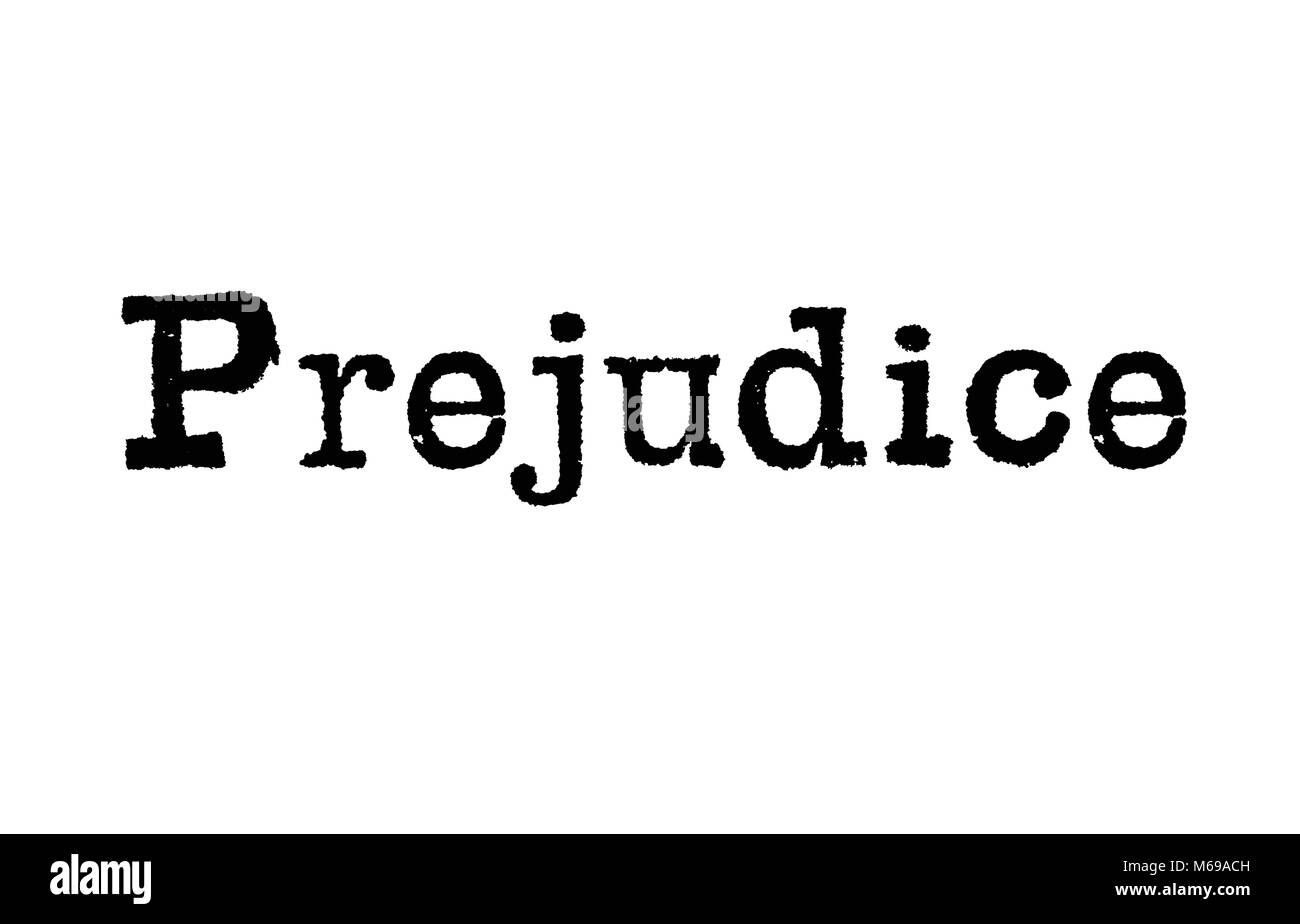 The word Prejudice from a typewriter on a white background - Stock Image