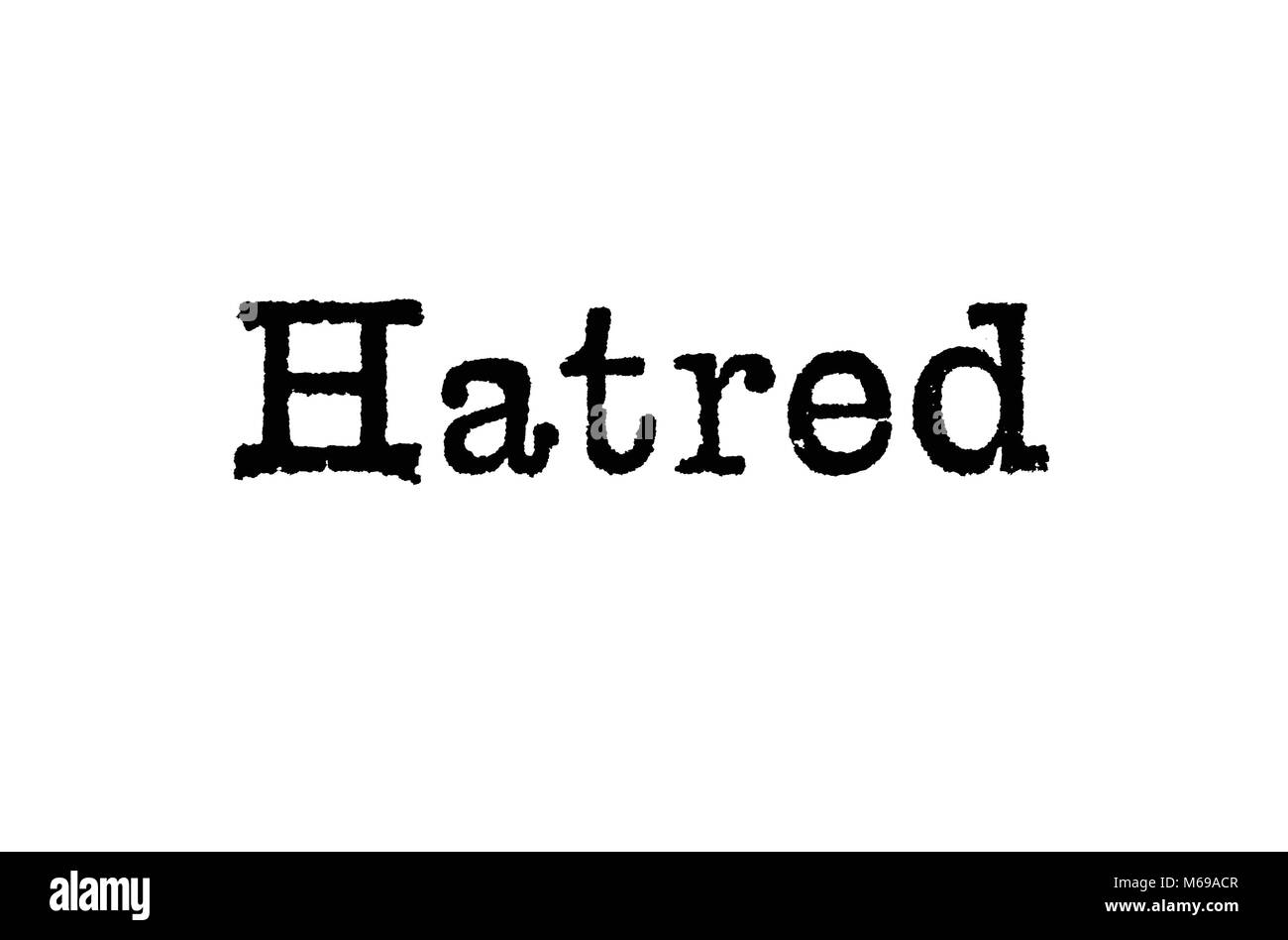 The word Hatred from a typewriter on a white background - Stock Image