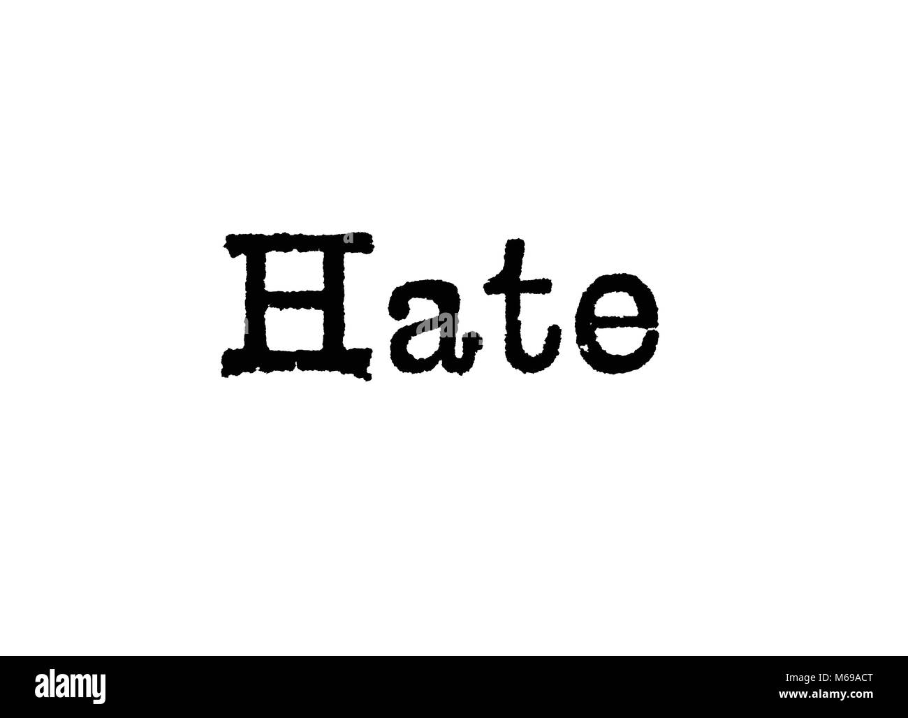 The word Hate from a typewriter on a white background - Stock Image