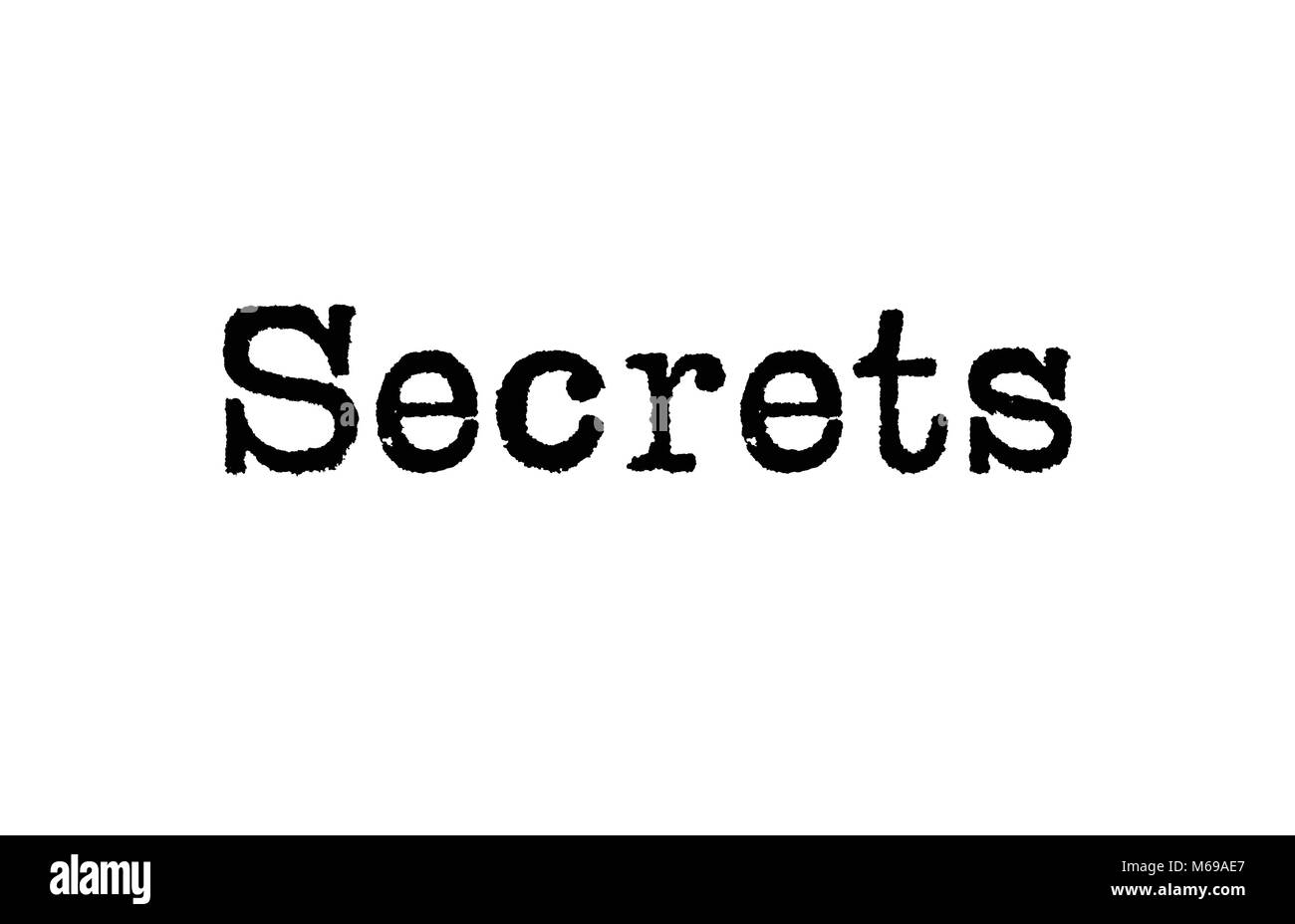 The word Secrets from a typewriter on a white background - Stock Image