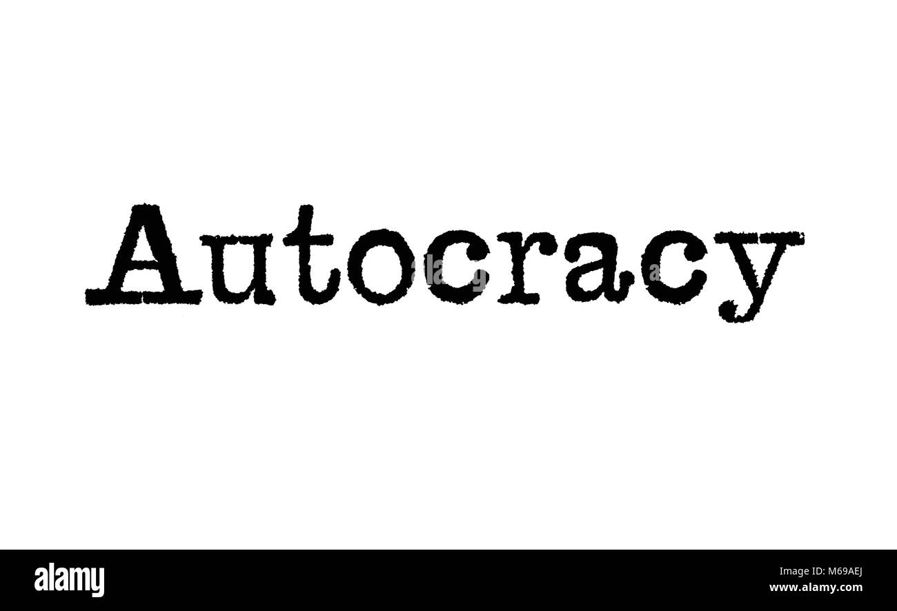 The word Autocracy from a typewriter on a white background - Stock Image
