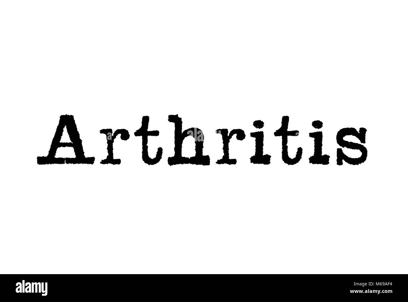 The word Arthritis from a typewriter on a white background - Stock Image