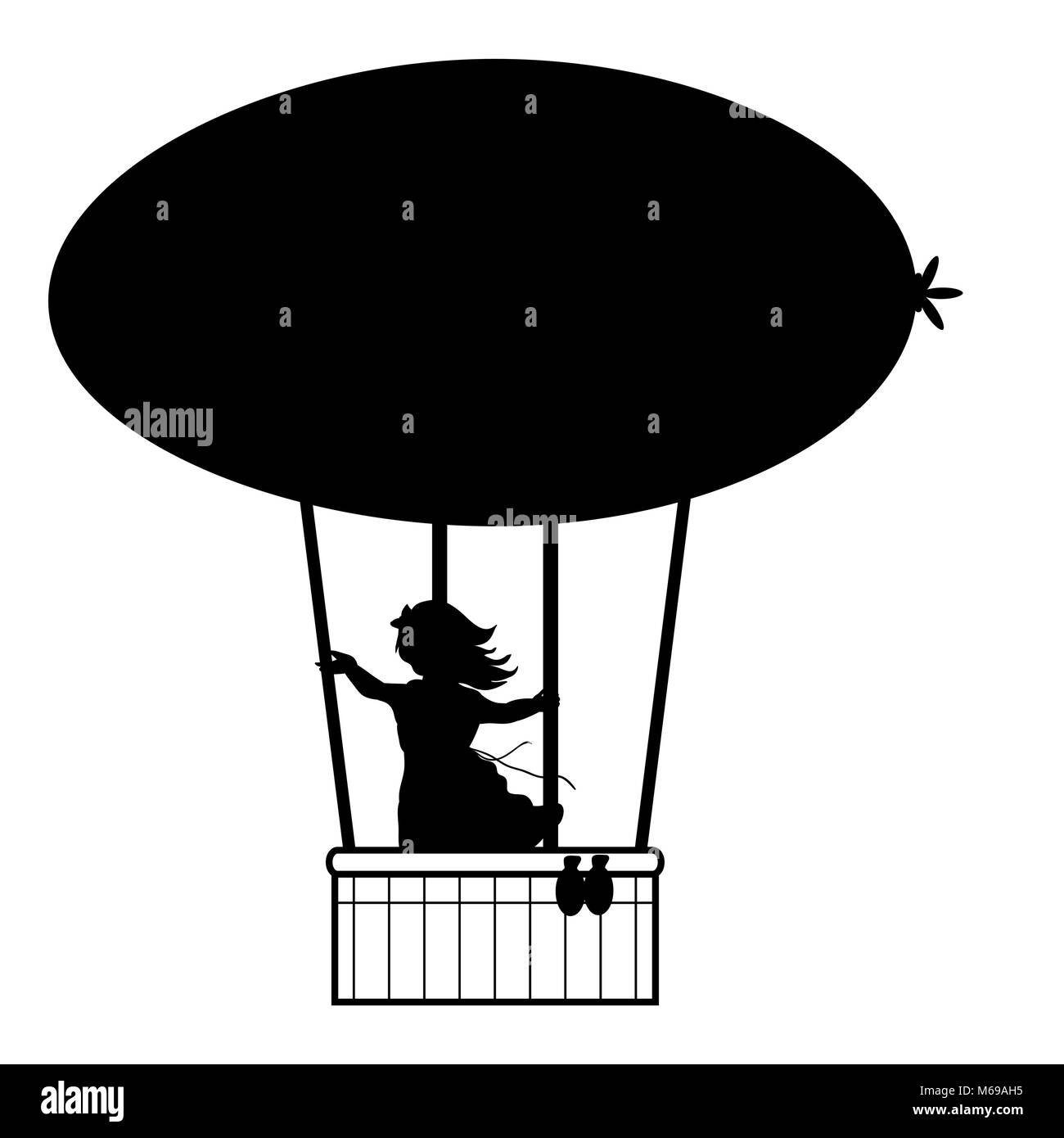 Silhouette girl flies up air balloon - Stock Vector