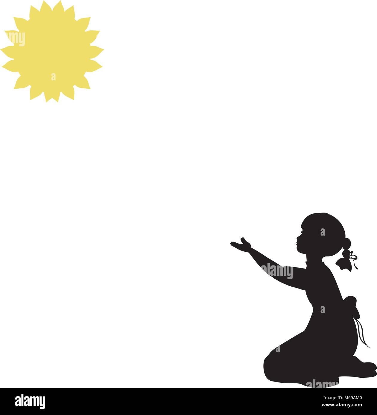 Silhouette girl pulls hands to sun . World summer sun day.  - Stock Vector