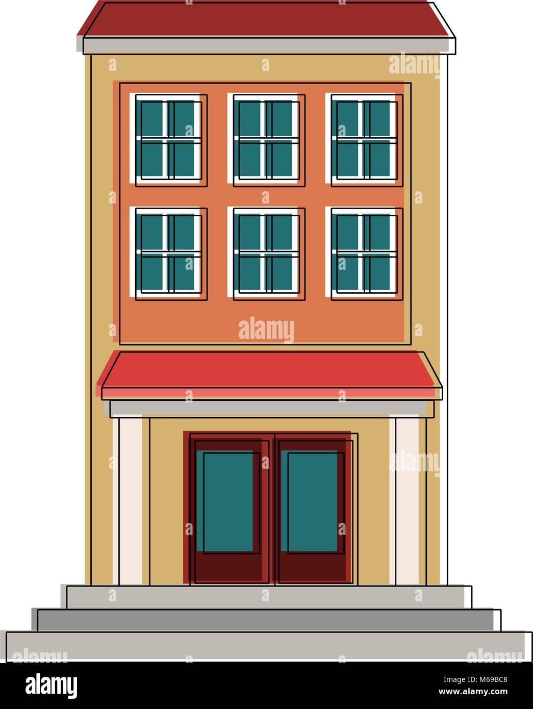 edifice building cartoon - Stock Image