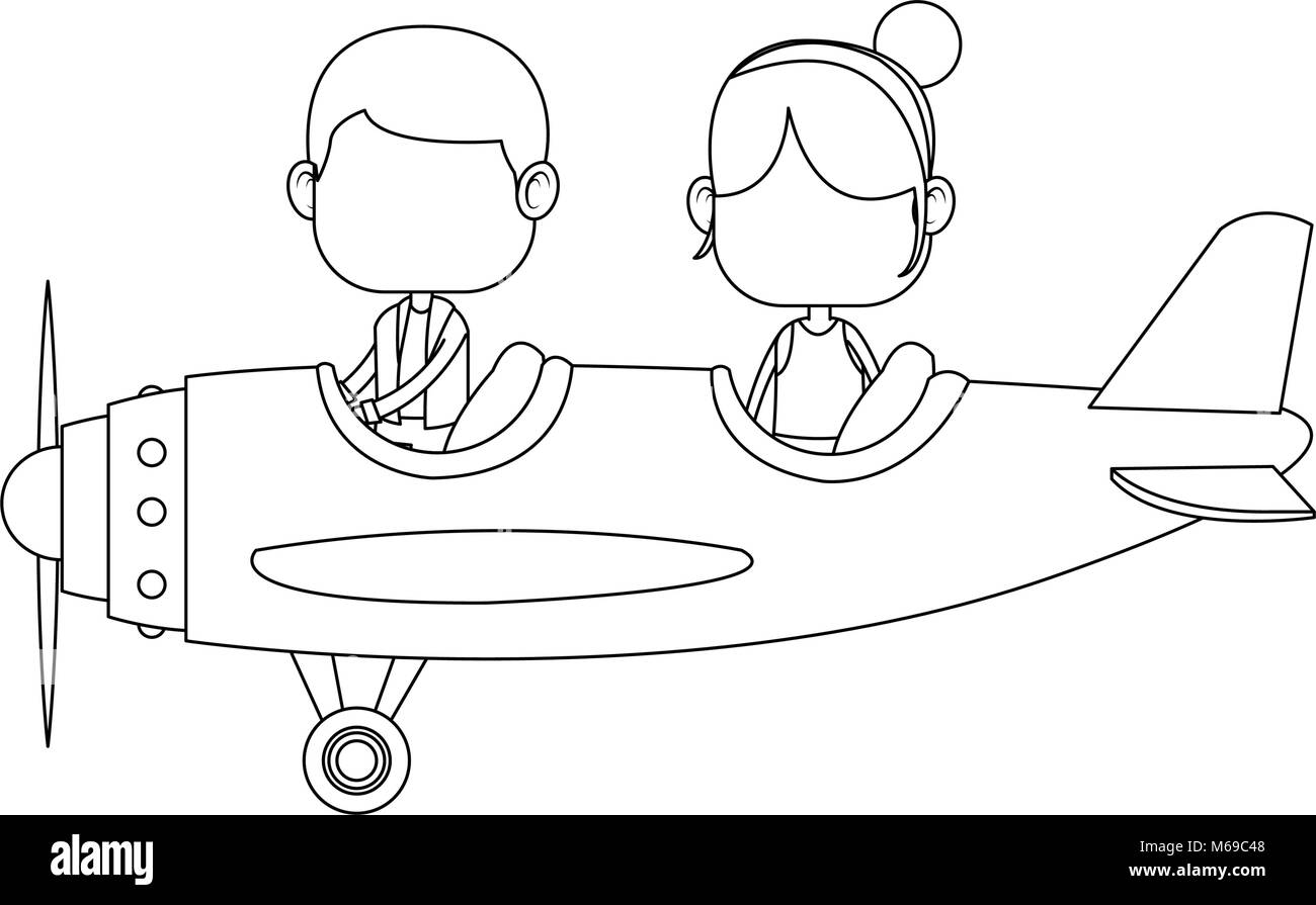Cute Kids Flying An Airplane Cartoon Stock Vector Image Art Alamy