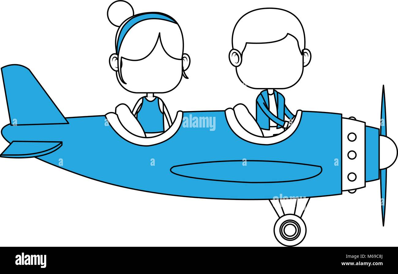 Cute Kids Flying An Airplane Cartoon