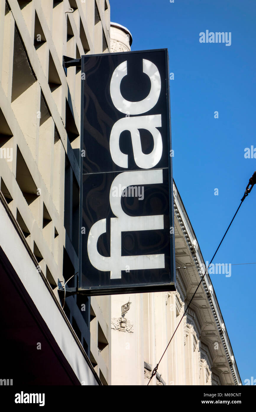 Shop sign showing logo of Fnac store, large French retail chain selling cultural and electronic products - Stock Image