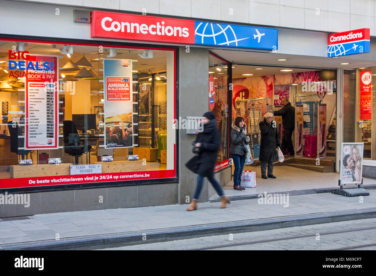 Connections travel shop / travel agency in Belgium - Stock Image