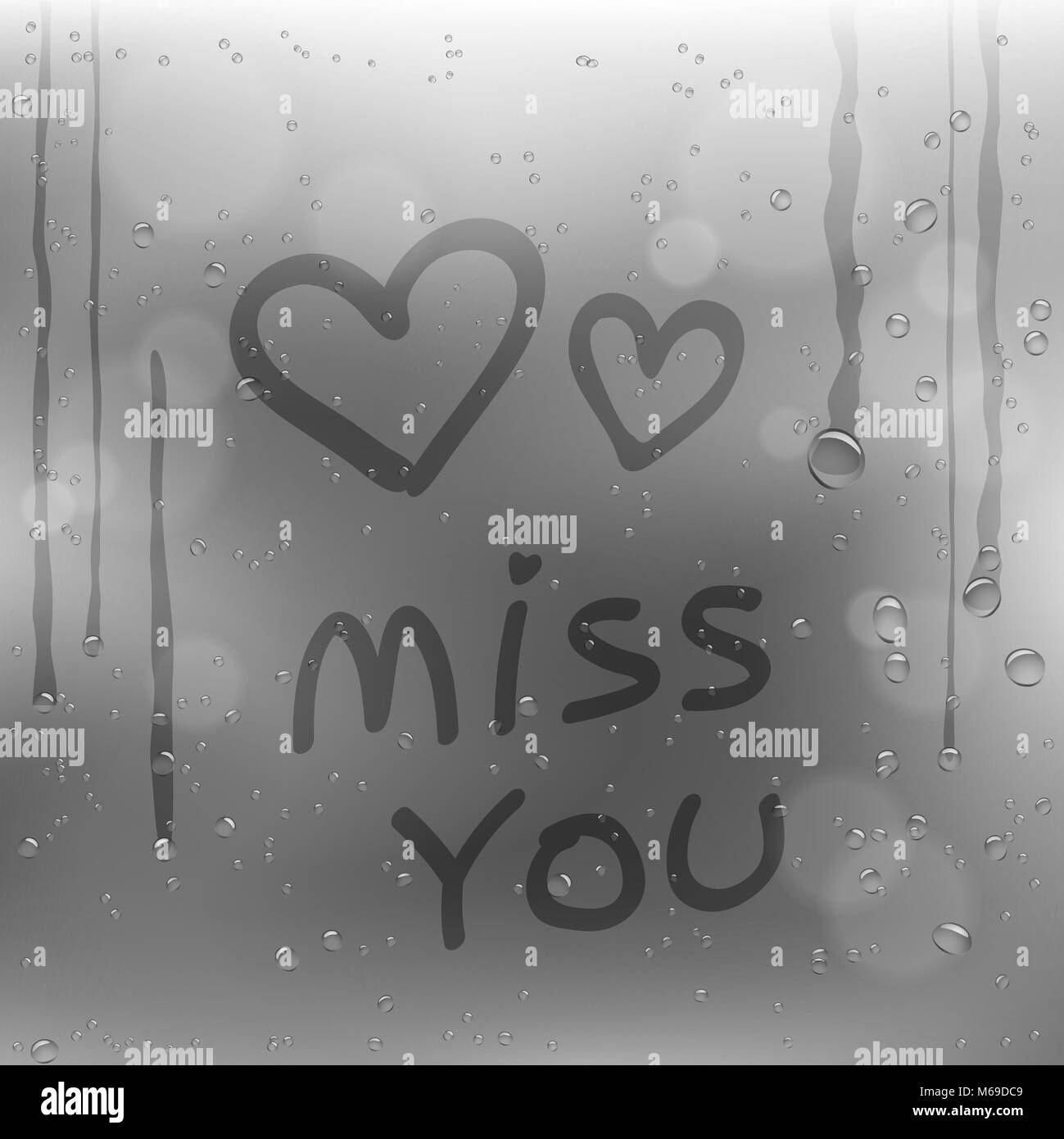 Text miss you and hearts symbol draw on rainy window. Sadness romantic rain template on glass surface with gray - Stock Image