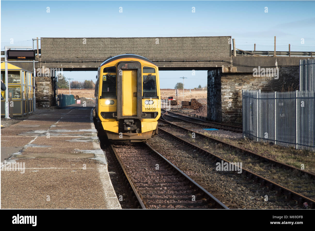 Georgemas Junction train station in the far north of Scotland. From this station the train tracks run to Wick and - Stock Image