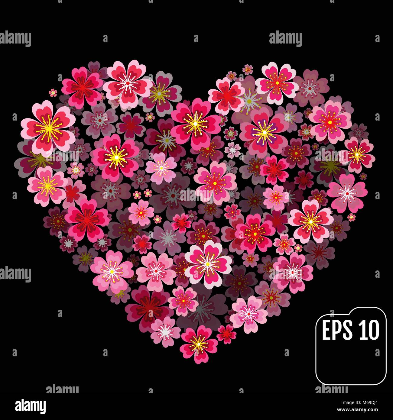 3d effect Spring flowers heart floral collage concept - Stock Vector