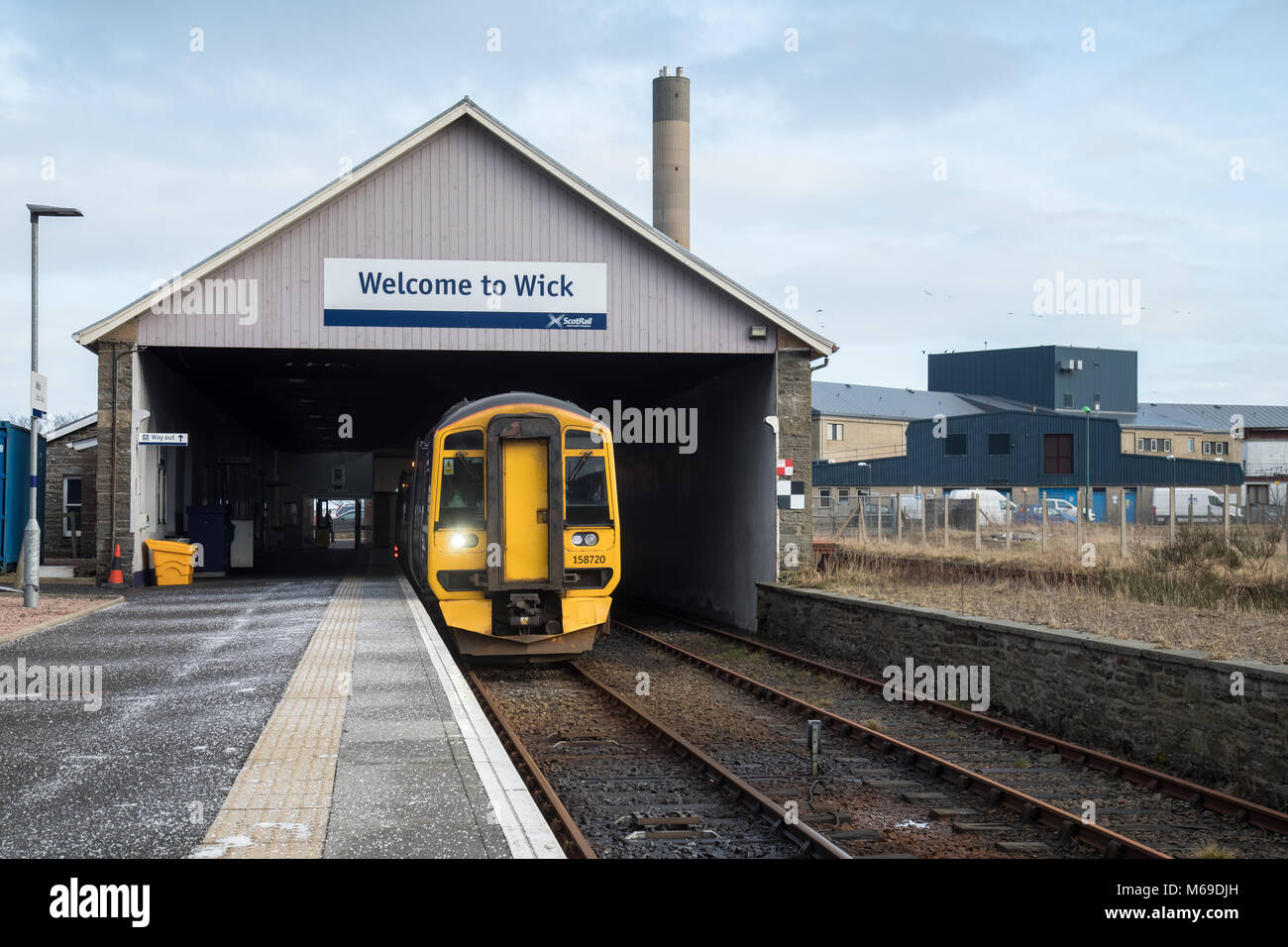 158720 Wick train station in the far North of Scotland - Stock Image