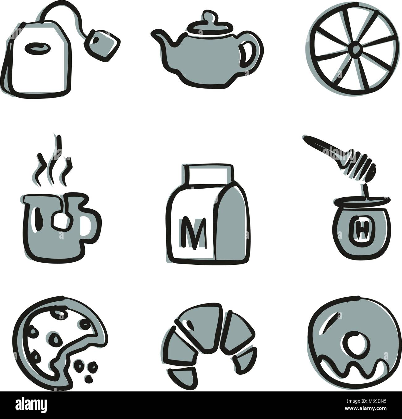 Tea Icons Freehand 2 Color - Stock Image