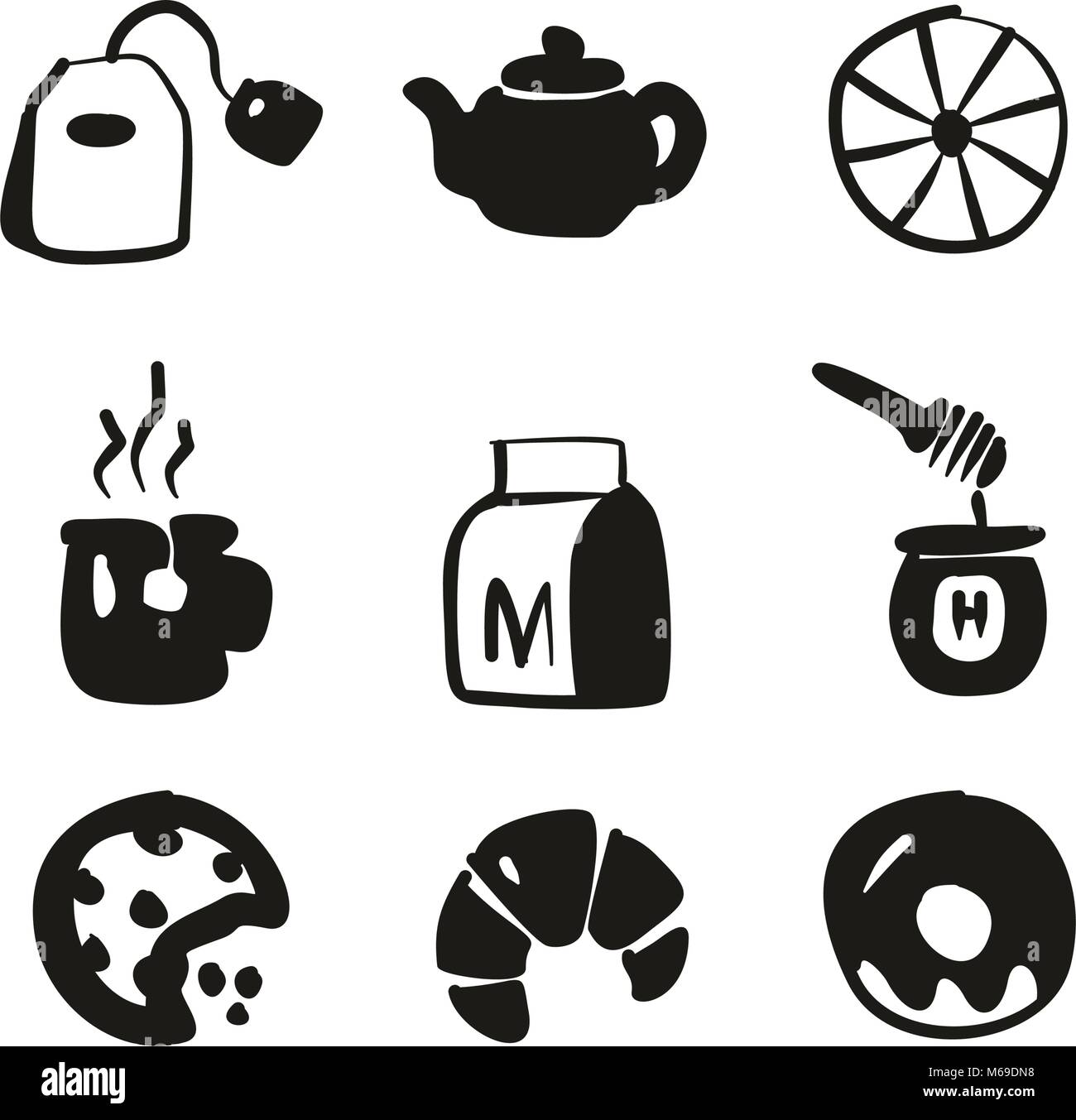 Tea Icons Freehand Fill - Stock Image