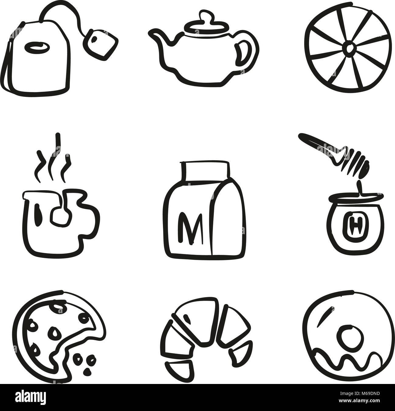 Tea Icons Freehand - Stock Image