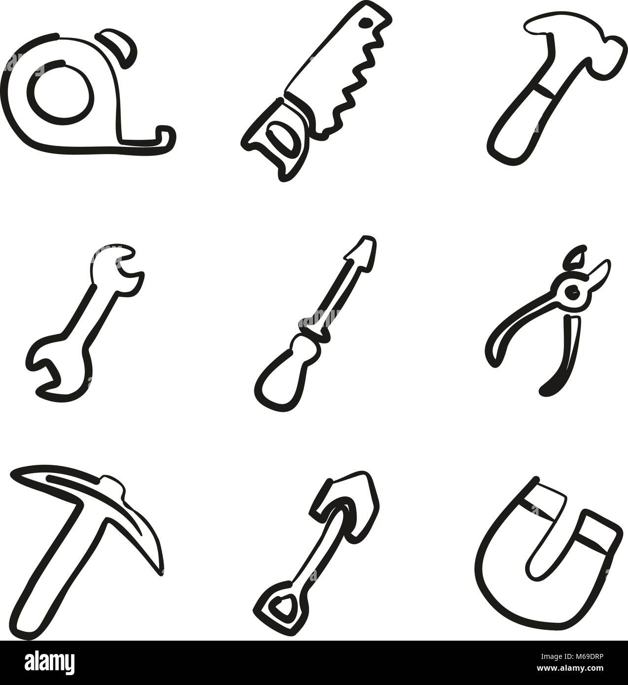Tools Icons Freehand - Stock Vector
