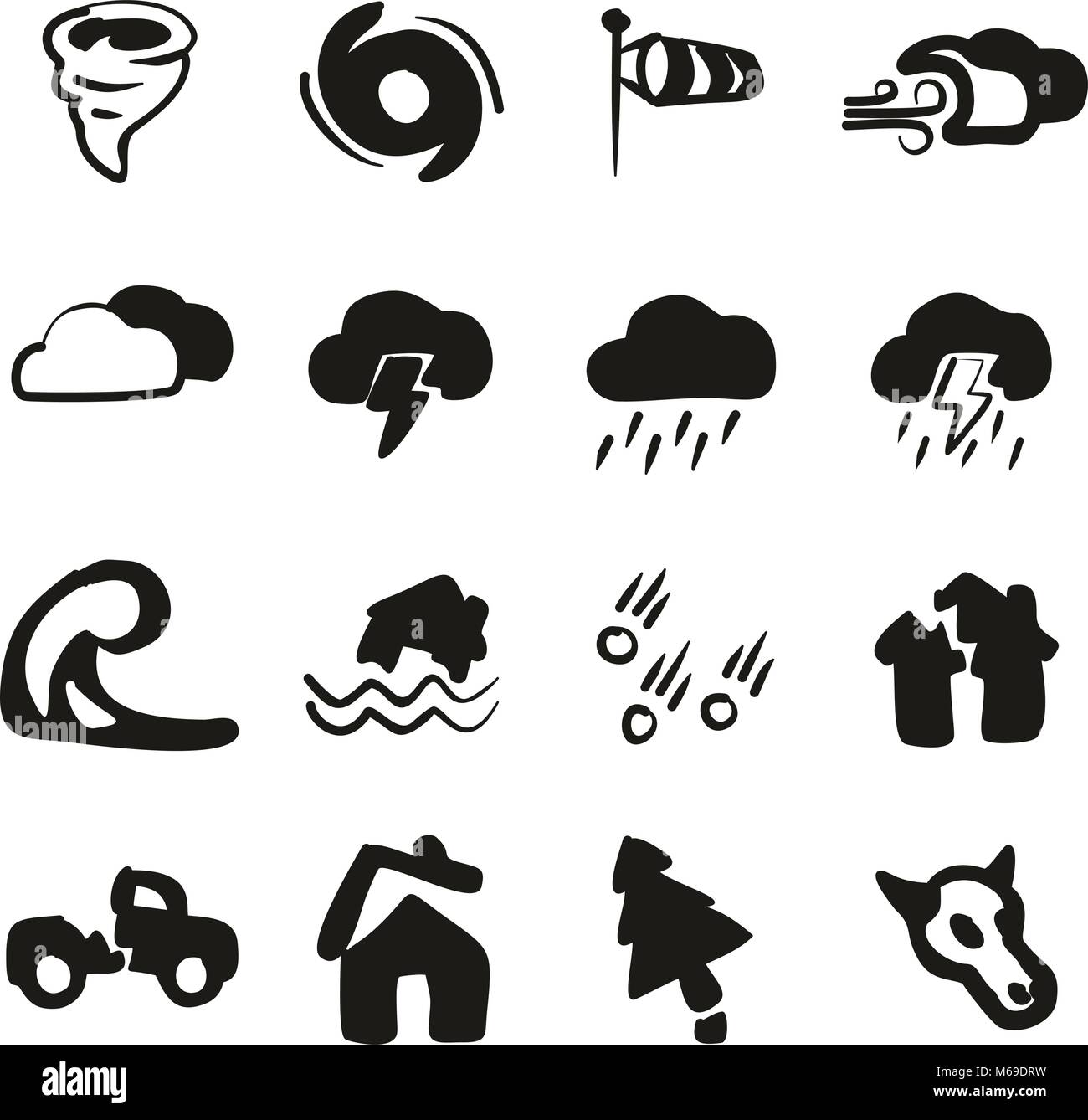 Tornado Icons Freehand Fill - Stock Vector