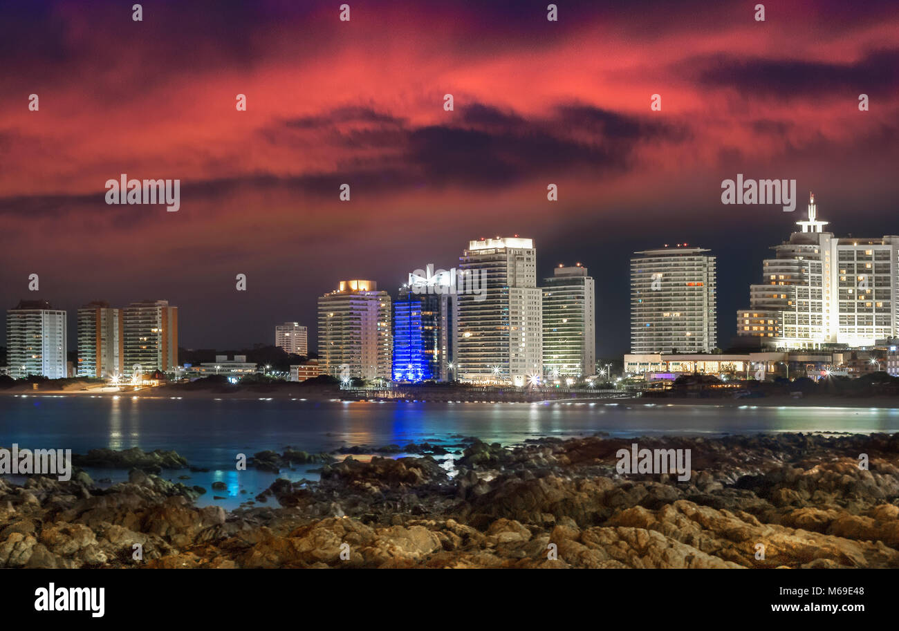 The City of Punta Del Este at sunset - night, from the Playa Mansa, Uruguay. - Stock Image