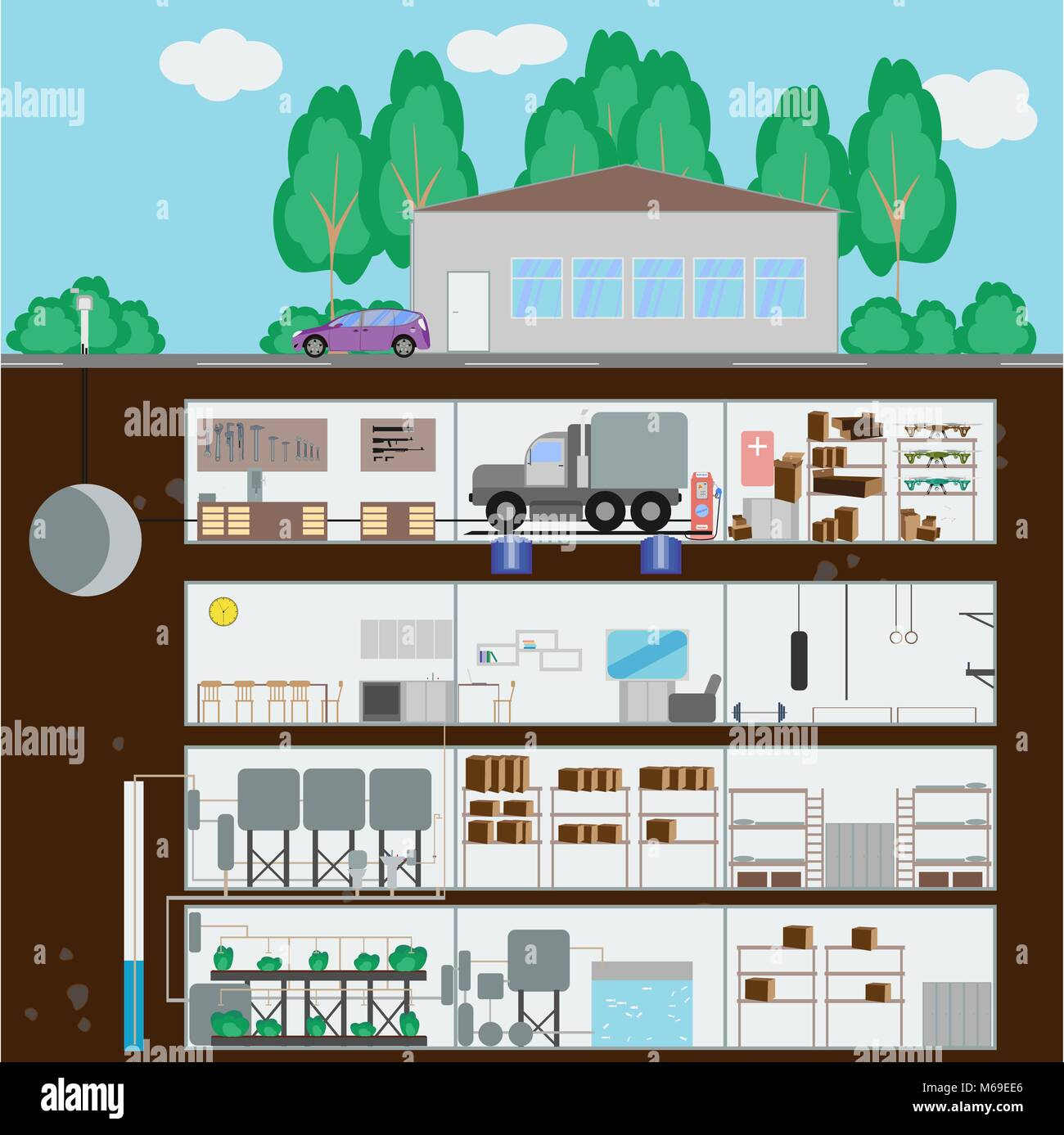 Underground bunker. Many parts of autonomous survival. Flat style. Vector illustration - Stock Image