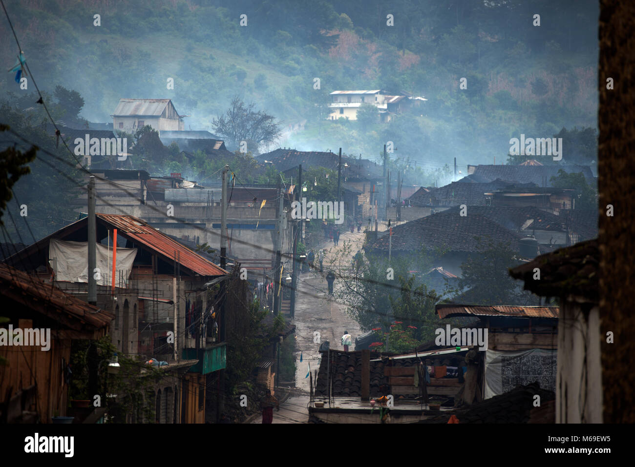The Ixil Maya village, San Gaspar Chajul, is constantly misty due to its location in the Cuchumatanes mountains - Stock Image
