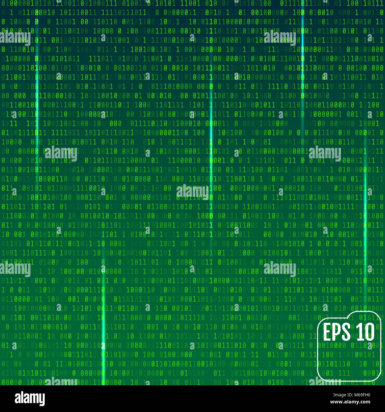 Stream of binary code on screen. Abstract vector background. Data and technology, decryption and encryption, computer - Stock Image