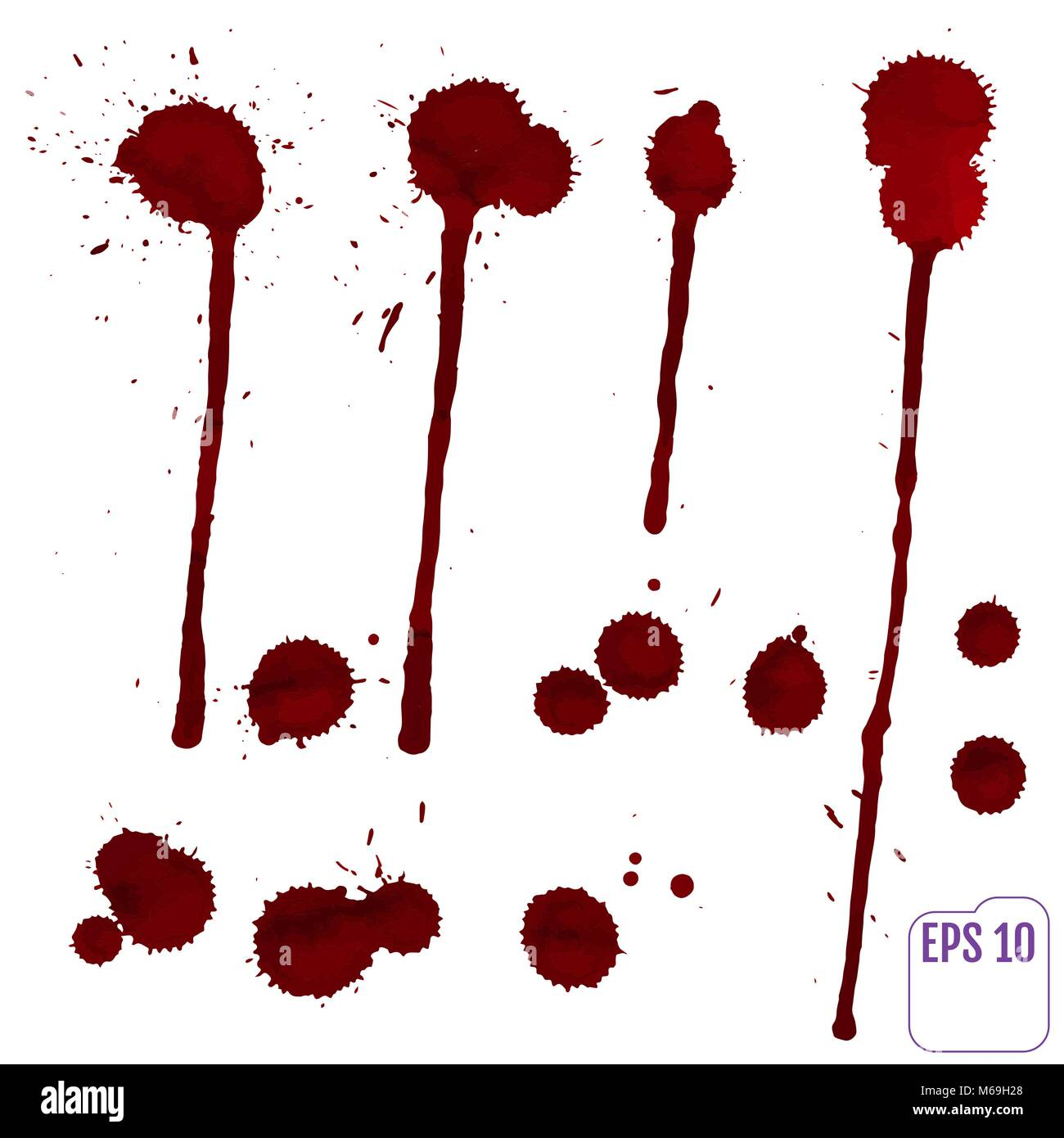 Blood drip. Vector red Ink stain, blots and splashes. Isolated Realistic paint drops, design elements. - Stock Image