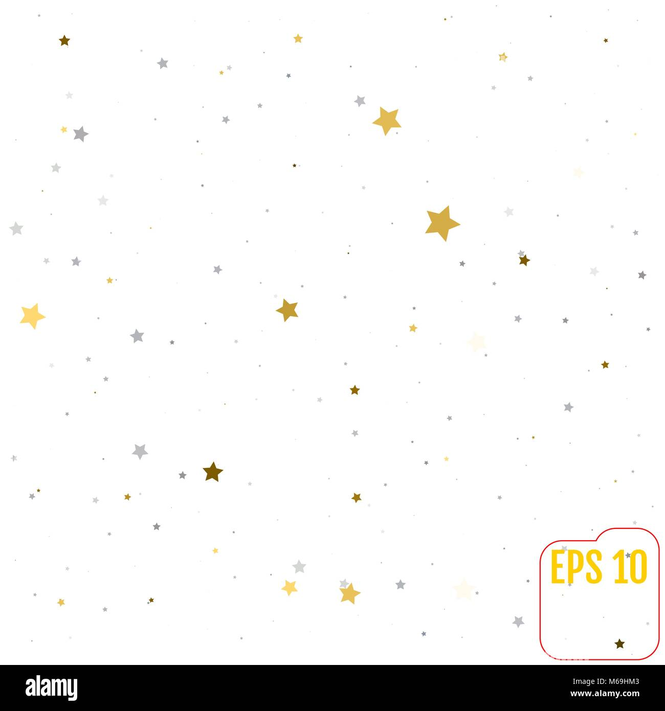 Abstract background with many falling gold and silver stars confetti. vector background Stock Vector