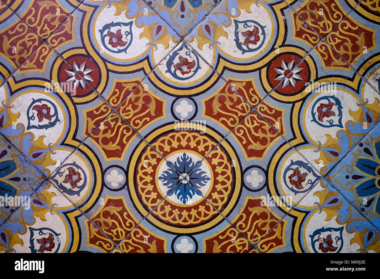 Old decorative ceramic floor. Condom. Le Gers Department, New Aquitaine, Midi Pyerenees. France Europe - Stock Image