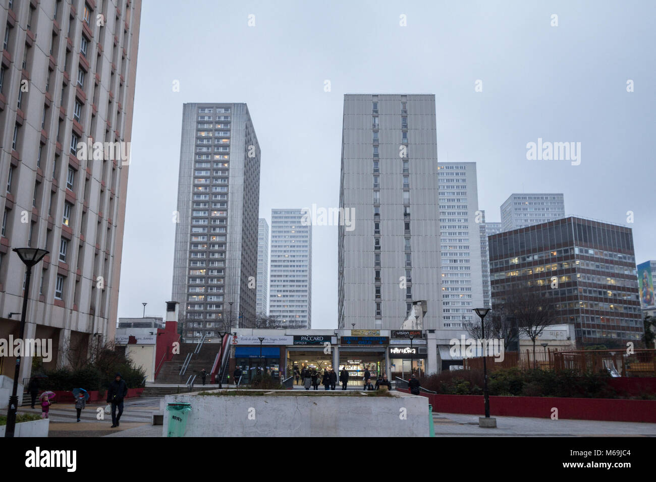 PARIS, FRANCE - DECEMBER 20, 2017: Olympiades square in the 13th arrondissement in Paris, in the Asian district, - Stock Image