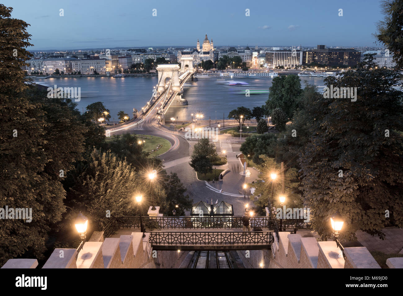 Chain bridge view from Castle Hill Funicular in Budapest Stock Photo