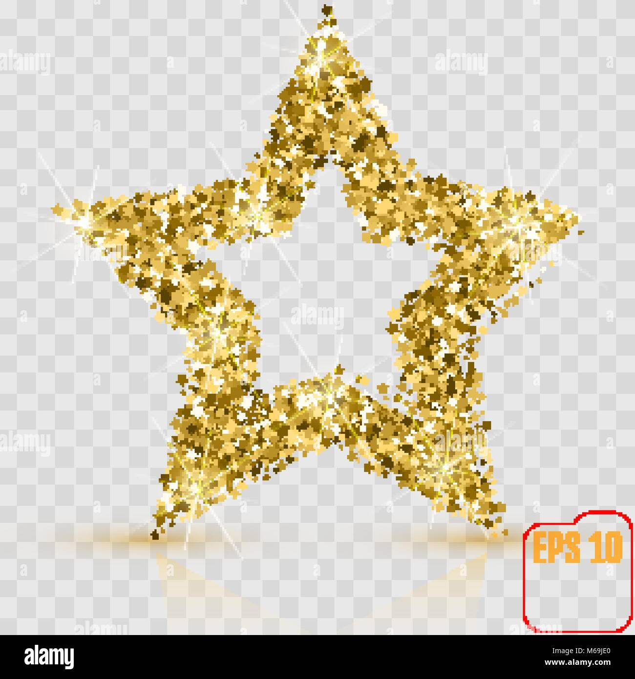 golden glitter star of many small stars vector banner on transparent