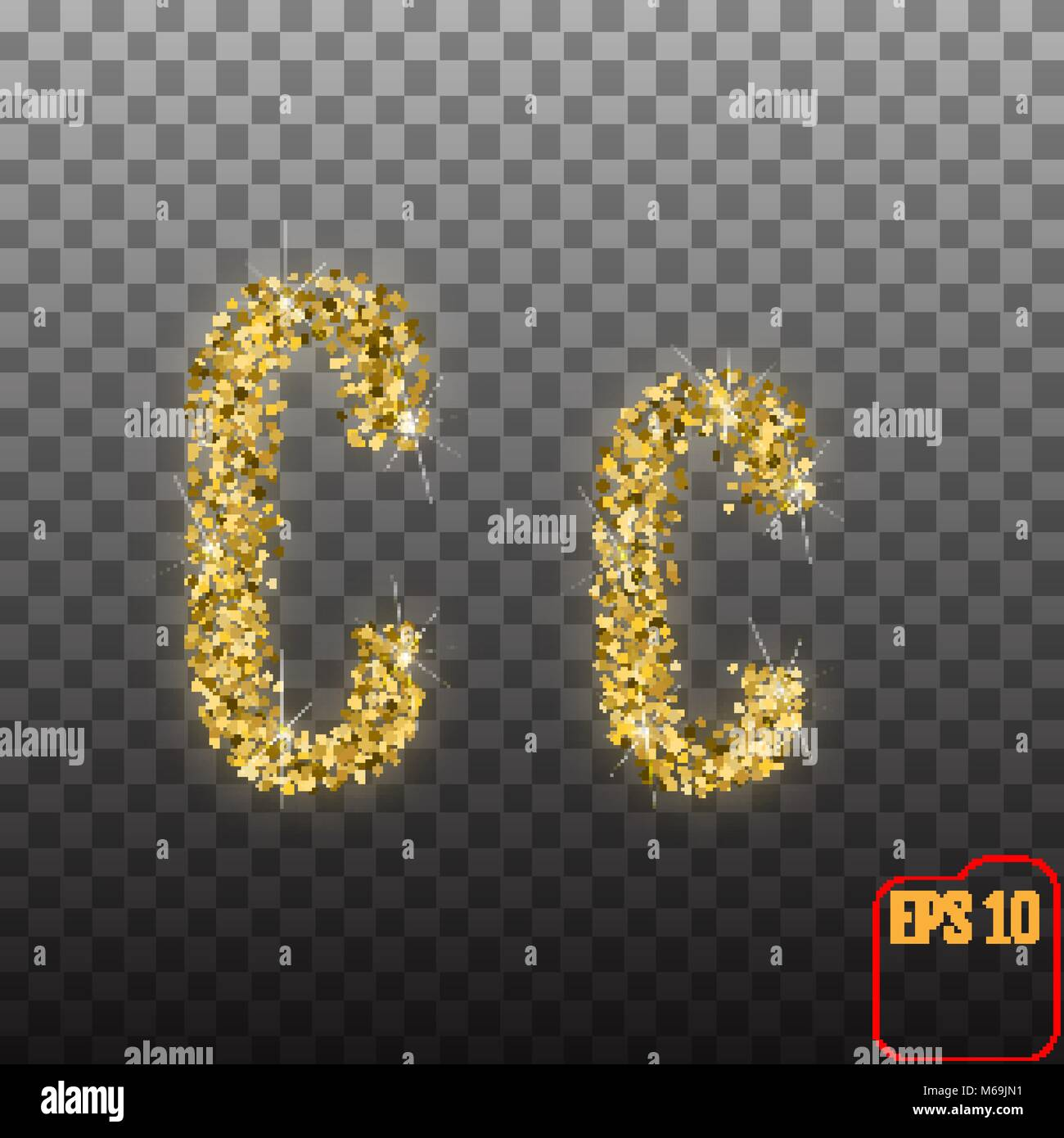 Vector Alphabet Gold Letter C On Transparent Background