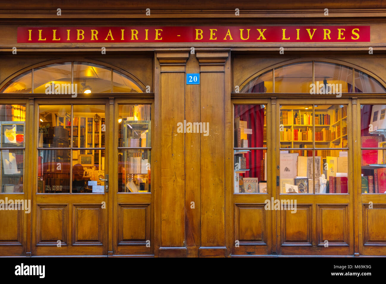 Second hand bookstore with wooden facade, Grand Rue, historic center. Old town, Genève Suisse. Geneva. Switzerland Stock Photo