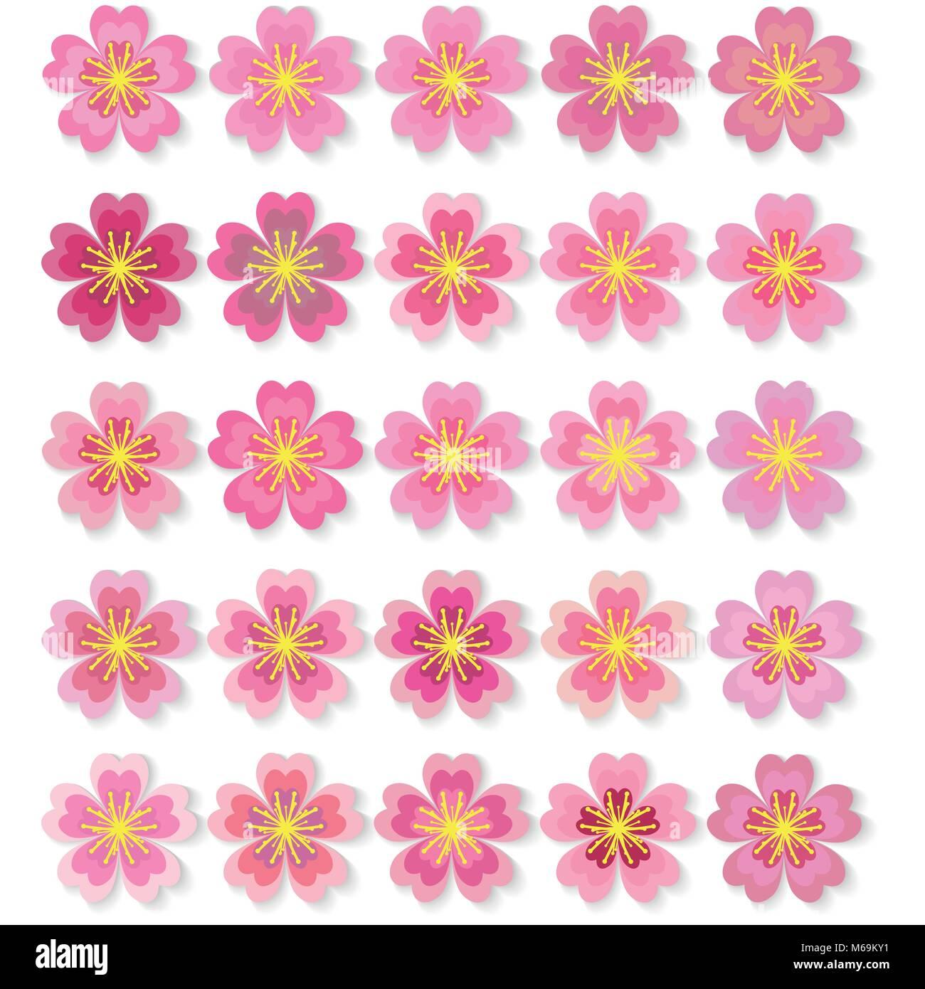 Cherry pink flower spring sakura blossom vector icon set stock cherry pink flower spring sakura blossom vector icon set mightylinksfo Choice Image