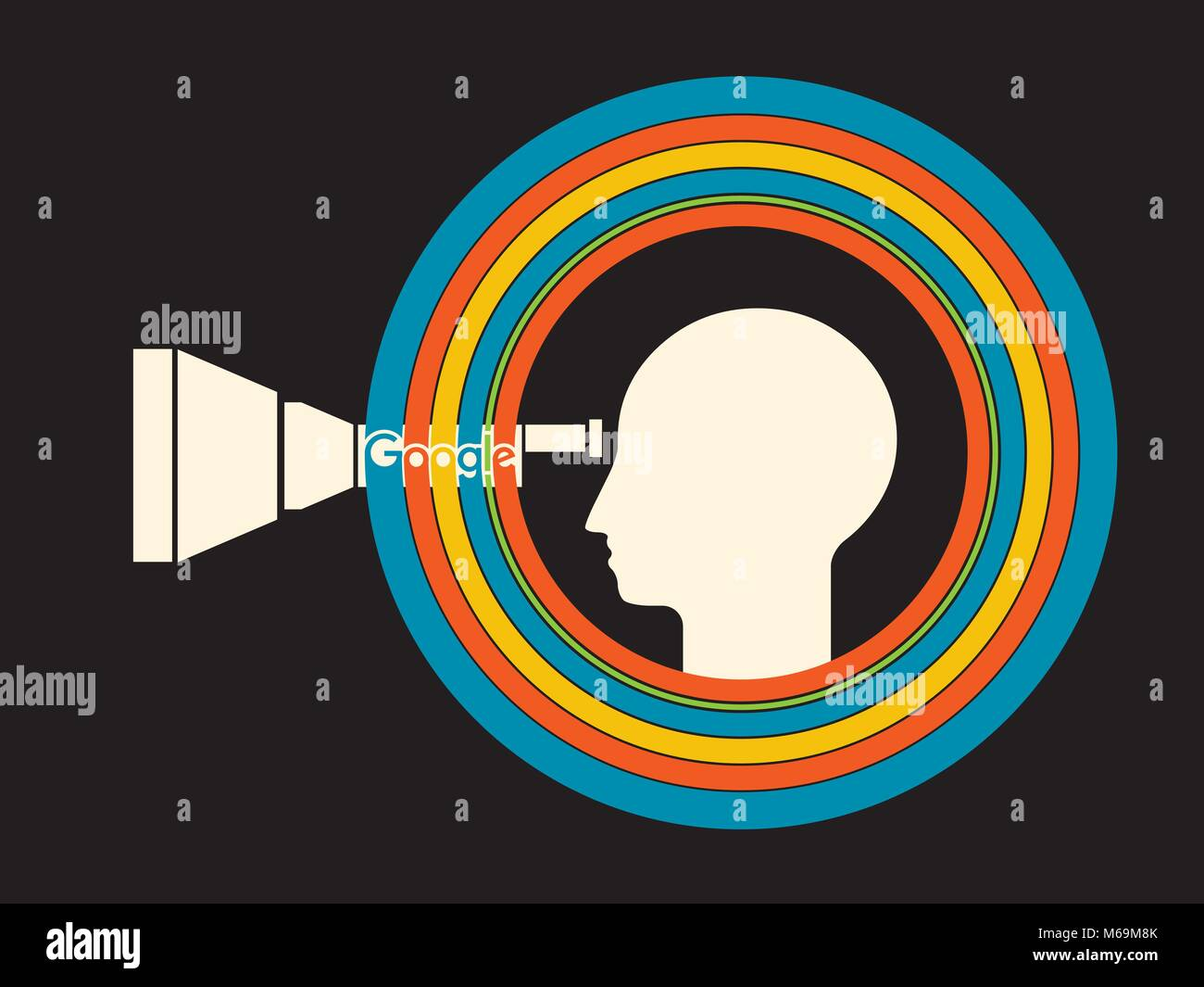 Living in the personal bubble. Looking to the word through google eyes. Illustrative Editorial Image - Stock Vector