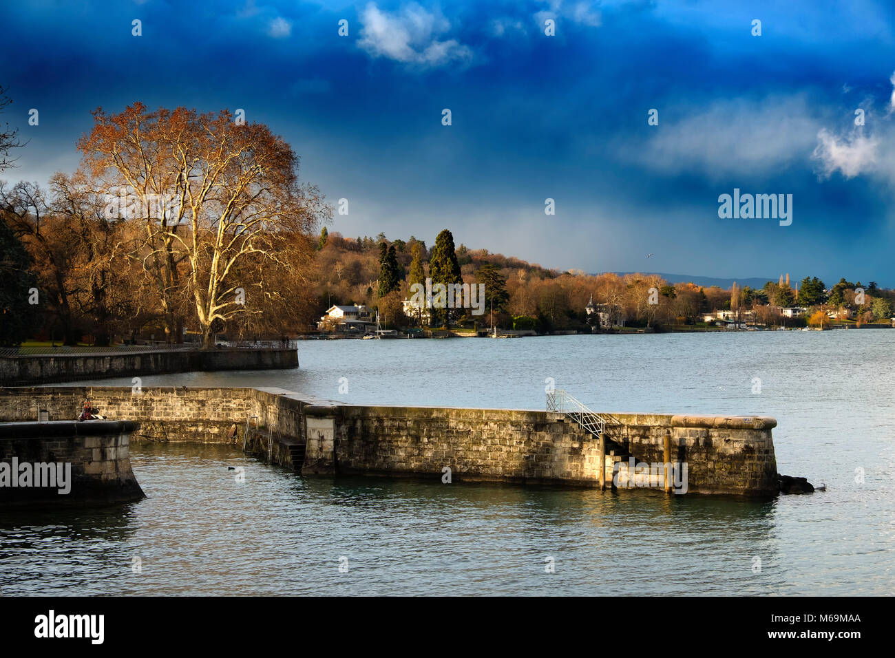 Leman Lake. Old town, historic center. Genève Suisse. Geneva. Switzerland Europe Stock Photo