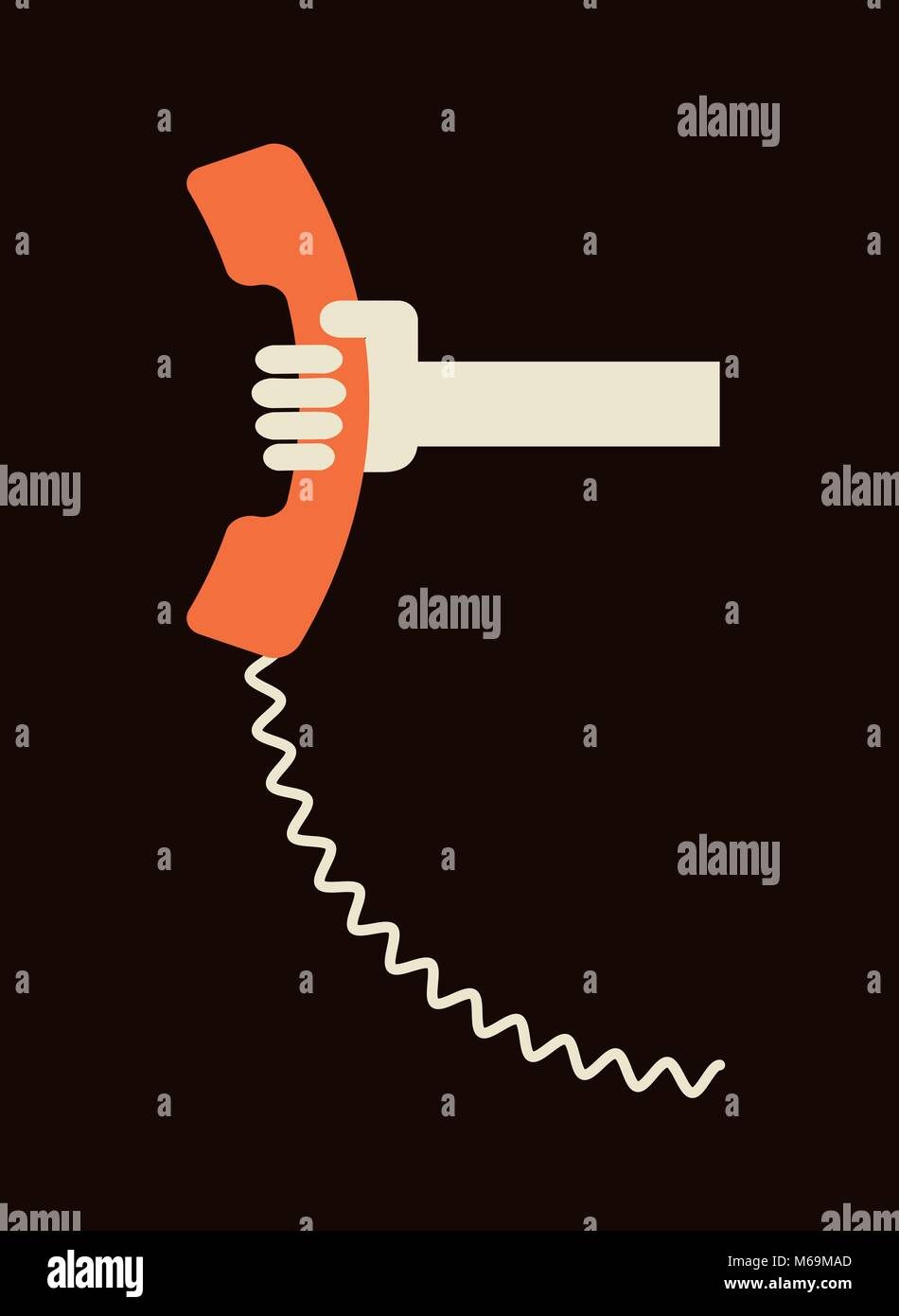 hand holding old telephone receiver - urgent call - communicatioin design template - Stock Image