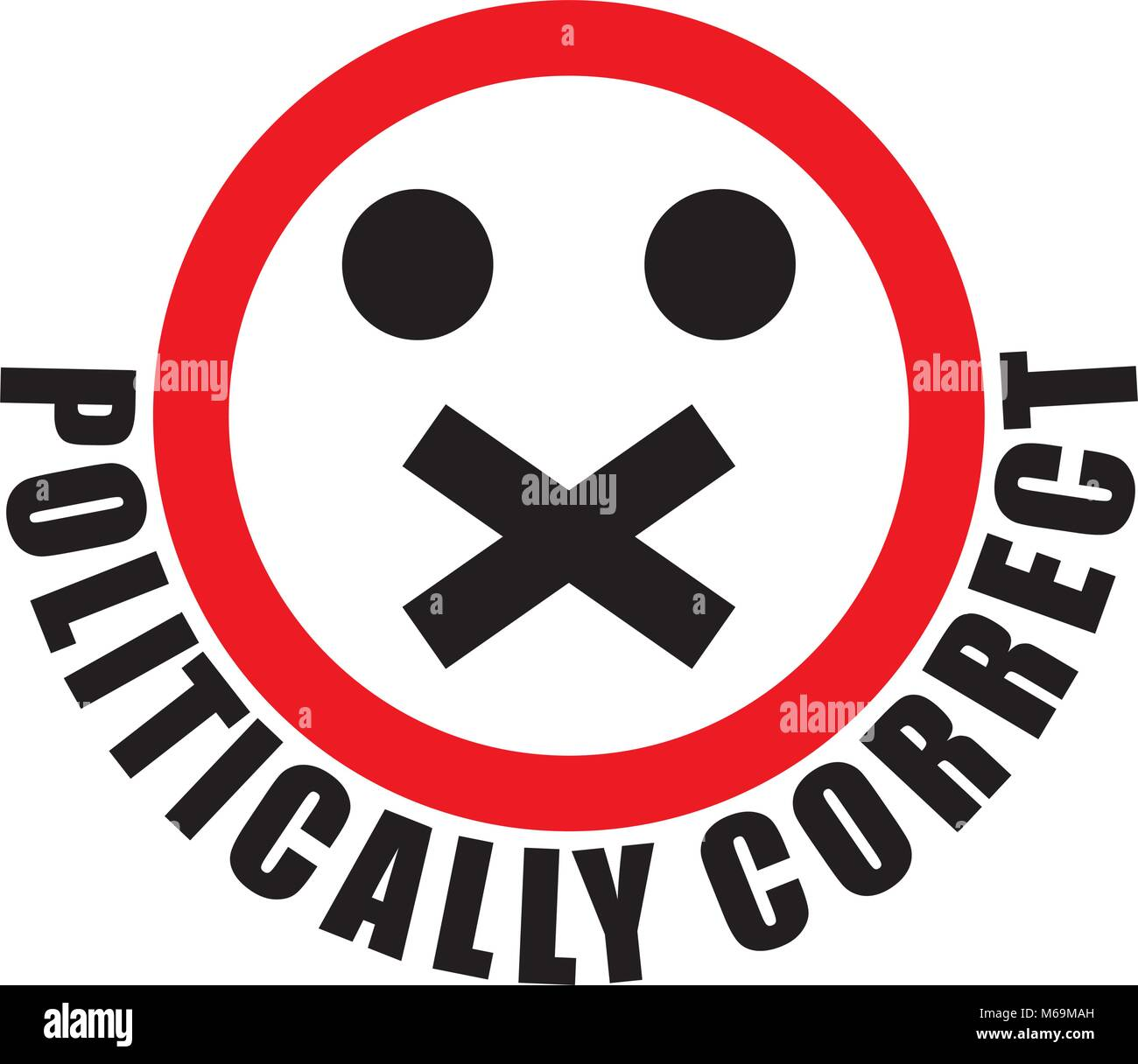 shut up and be politically correct - Stock Image