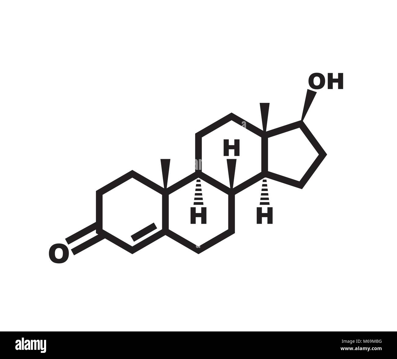 testosterone - chemical structure - Stock Vector